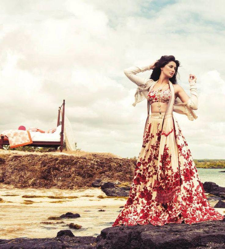 Nargis Fakhri in Sabyasachi Lehenga and Dupatta on Harper's Bazaar Bride India December 2014