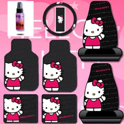Hello Kitty Car Accessories Seat Covers Floor Mats Steering Wheel Cover License