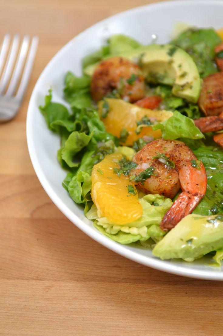 Salade avocat-orange-crevettes citronnée. Un vrai délice !!!!