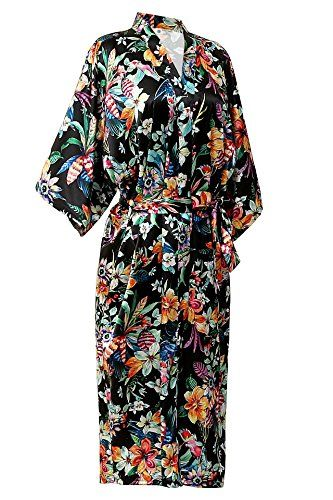 Women s Satin Long Kimono Robe Blossoms Bathrobe Dressing Gown Robe With  Belt by NORA TWIPS Premium silky feel Kimono Robe for Bridal and Bridesmaid  Printed ... 6423d0b99