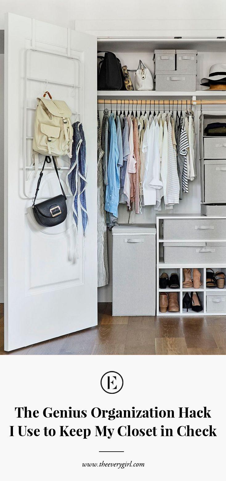The Genius Organization Hack I Use To Keep My Tiny Closet In Check Tiny Closet Organization Small Closet Hacks Tiny Closet