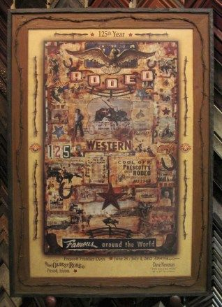 Prescott Rodeo Poster by Dave Newman - framed at The Frame & I with reclaimed barnwood and old rusty barbed wire