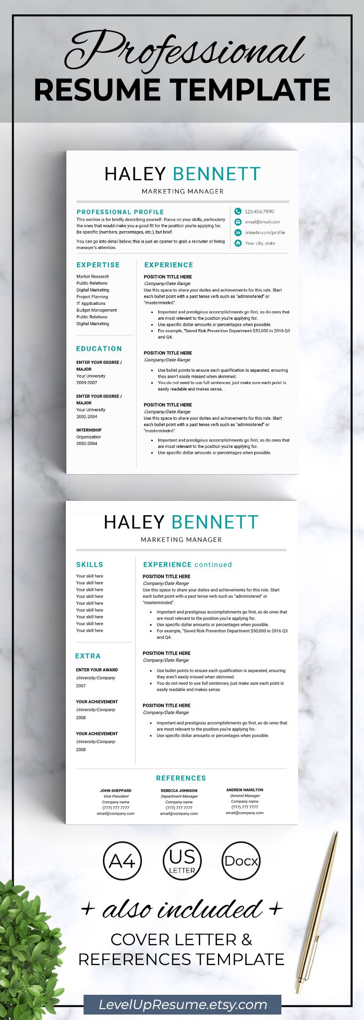 Modern resume template. Professional resume design. Career advice. Job search. Get hired! Click on the link or save the pin to your board >>>>> #career #job #resume #resumetemplate #girlboss #successfulwomen