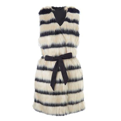 vesta, top, vesta z umělé kožešiny, levná vesta, dámská vesta, černobílá vesta : F&F