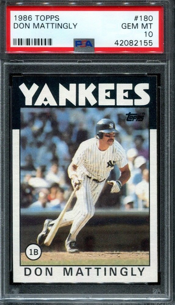 1986 Topps Baseball 180 Don Mattingly New York Yankees Hof Psa 10 Psa10 Sportscards Baseball Cards Don Mattingly Baseball Cards For Sale