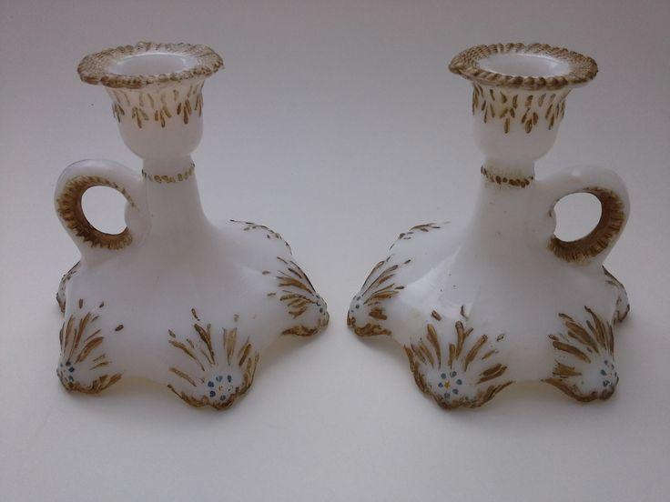 Antique Candlesticks, Dithridge Glass Co, Antique Candle Holder, Milk Glass Candlesticks, White Glass Candlesticks, Glass Candle Holders by BeebleWeezy on Etsy
