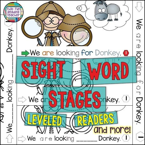 Sight-Word-Stages Leveled Readers and Writing activities - Color copy for classroom guided reading library, differentiate line art copy by student need! Levels aa-B | That Fun Reading Teacher.com