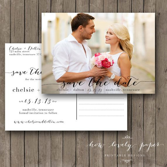 Printable Save the Date Postcard  the Chloe by HowLovelyPaper