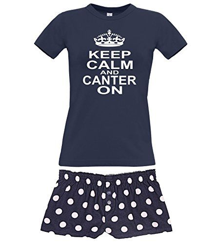 Navy Women's T-Shirt & Navy Polka Dot Shorts Pyjama Set 'KEEP CALM AND CANTER ON' with White Print.