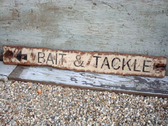 Rustic Distressed Bait and Tackle Fishing by TheUnpolishedBarn