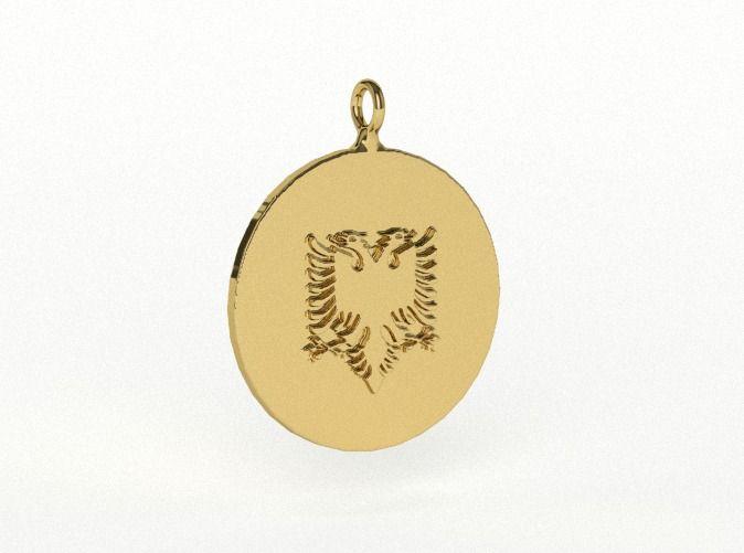Albanian Flag Eagle Earring/Pendant A by vanca - Shqiponja e flamurit në formë vathi ose varëseje - 3D printed jewelry - bizhuteri shqiptare - flamuri shqiptar