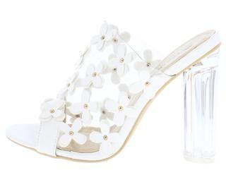 NORA1 WHITE 3D FLOWER STUDDED CLEAR MULE LUCITE HEEL - Wholesale Fashion Shoes