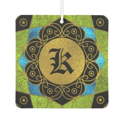 Monogram Gold And Color Glass  Mandala Air Freshener - floral style flower flowers stylish diy personalize