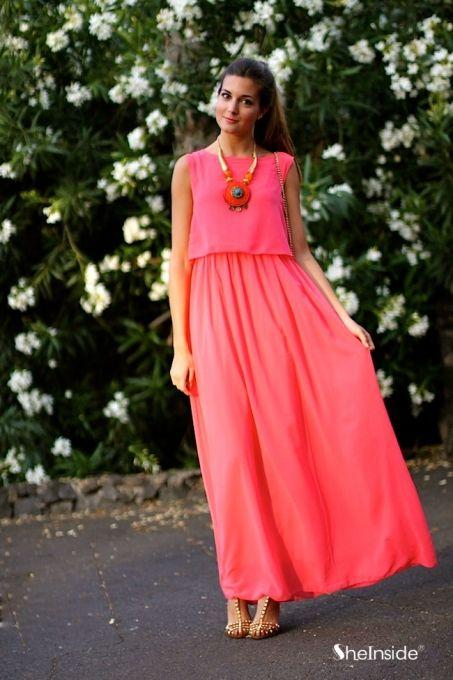 Red Bohenmia Pleated Princess Chiffon Maxi Dress - Sheinside.com