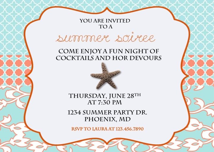 starfish invite - cute for beach dinner party