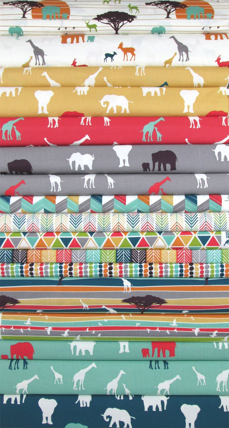 Jay-Cyn Designs for Birch Organic Fabrics, Serengeti, Entire Collection in FAT QUARTERS 17 Total
