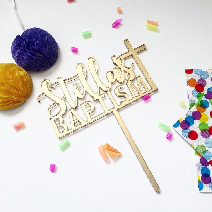 Custom Name Baptism Cake Topper in Gold Mirrored Acrylic.