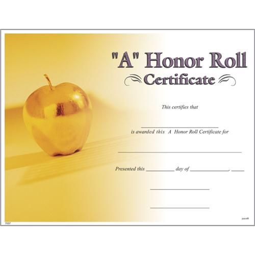 a honor roll certificates