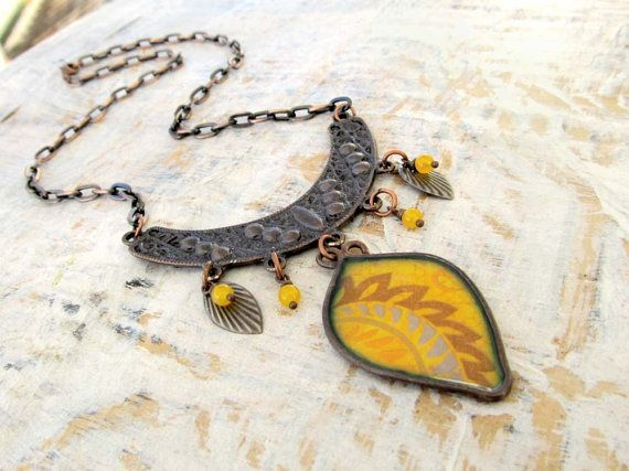 yellow Bohemian necklace unique statement by Gypsymoondesigns, $28.00