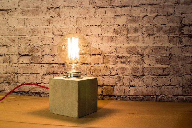 "Industrial concrete table lamp Industrial lamp Concrete Desk lamp Edison lamp Concrete light Edison bulb ""Concrete cube IV"""