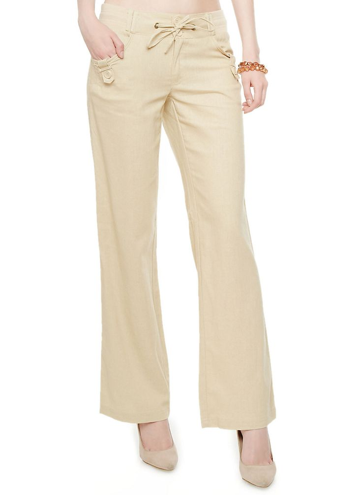 Rainbow Shops Linen Drawstring Wide-Leg Pants with Button Tab Trim $16.99