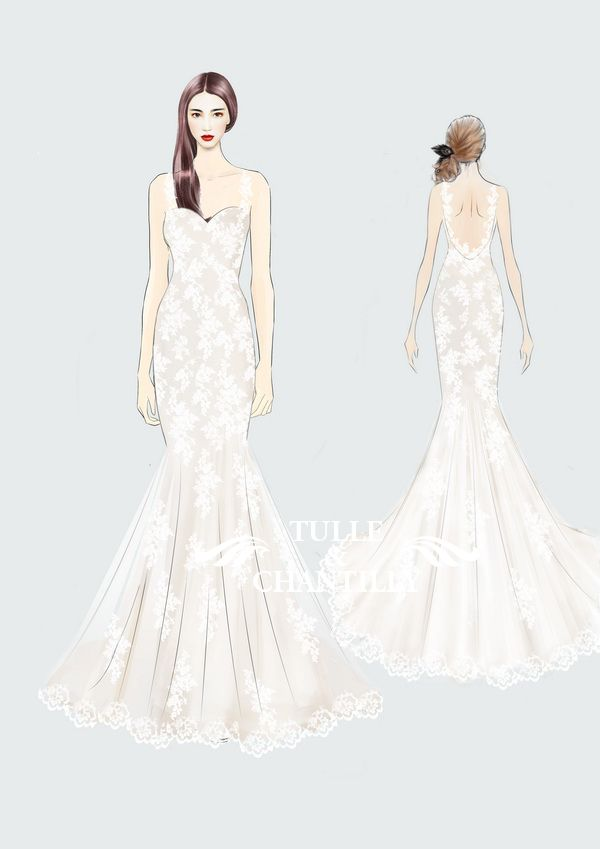 Design Your Own Wedding Dress Delicate Customized Mermaid Long With Low Back