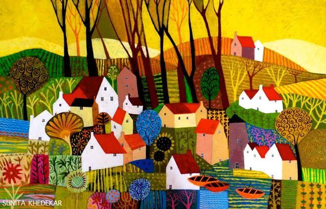 """Farm House 24""""x30"""" Acrylic on Canvas https://www.facebook.com/SunitaPaintings"""
