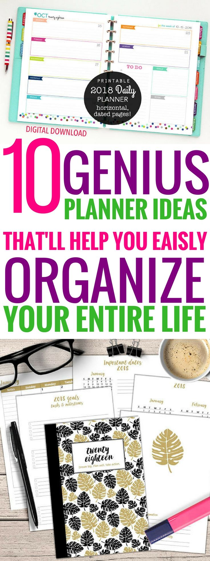 These 10 planner printables are THE BEST! I'm so glad I found these great printables1 Now I can organize my entire life this year! Definitely pinning! #planner #printables #organization