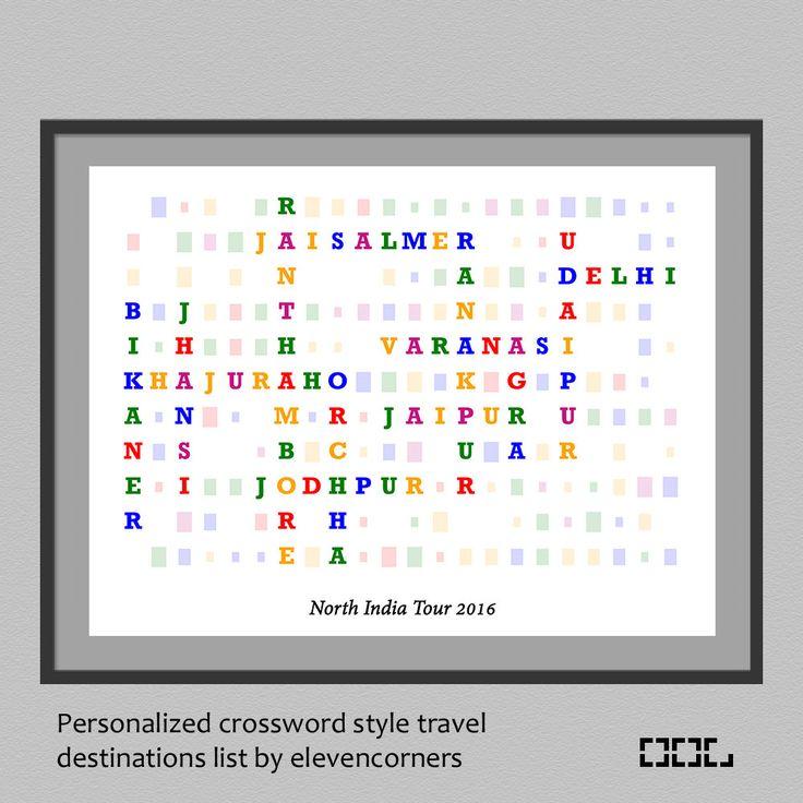 Personalized travel list crossword style print | wall decor | customized print | travel gift  | custom poster | kids childrens wall art by elevencorners on Etsy #etsy #elevencorners