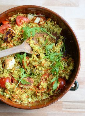 Lavender and Lovage | 5:2 Diet Spiced Moroccan Cauliflower Couscous – Tabbouleh with Halloumi (56 calories) | http://www.lavenderandlovage.com