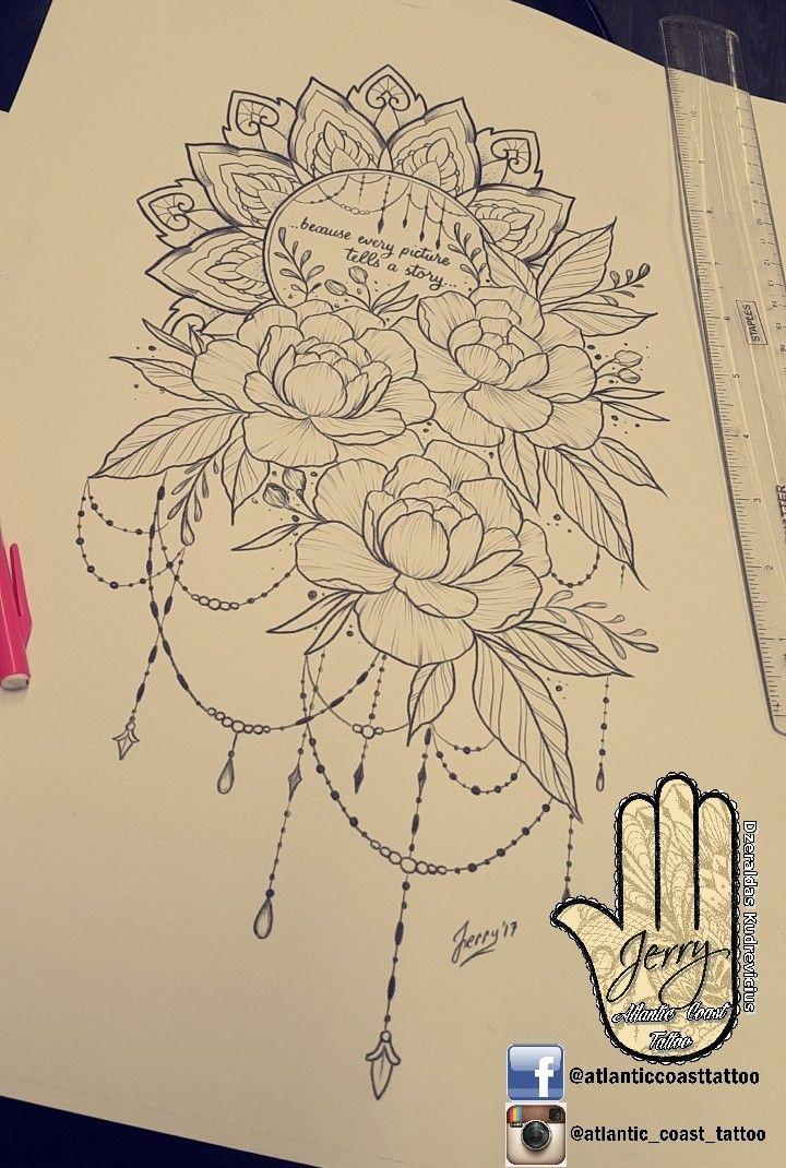 Beautiful tattoo idea design for a thigh peony flower rose tattoo. Mandala lotus lace tattoo design with pretty patterns. By dzeraldas jerry kudrevicius from Atlantic Coast tattoo