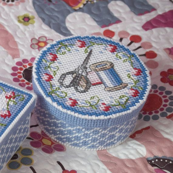 Sewing Basket Plastic Canvas Design Free by SmartCrossStitch                                                                                                                                                                                 More