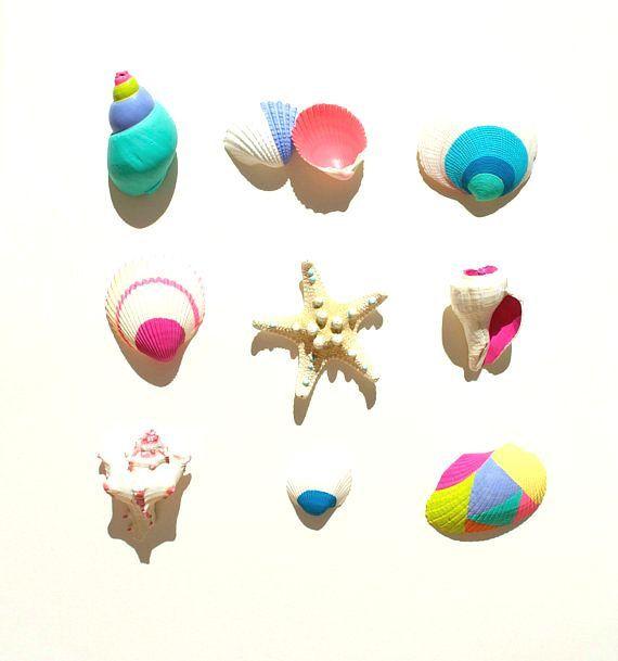 Neon Seashells, Electric - Handpainted, Home decor, Wedding, Beach, Nautical, Summer, Starfish, Miniature, White, Shells, Mermaid, Marine