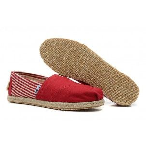 Striped Red Linen Bottom Canvas Womens Classics