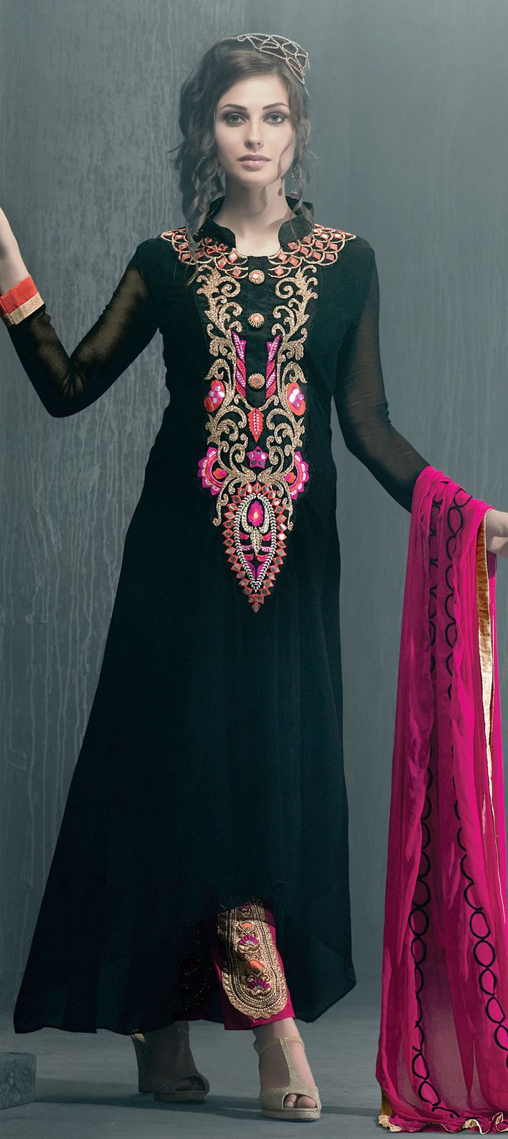 431524: Black and Grey color family stitched Party Wear Salwar Kameez .