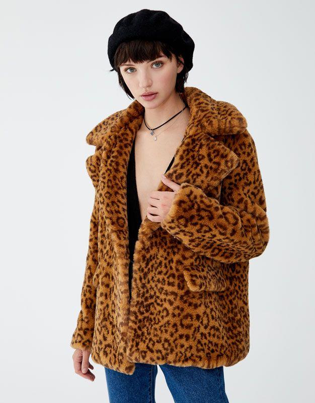 af7d54f34cca Leopard print faux fur jacket - pull&bear Pull & Bear, Faux Fur Jacket, Fur