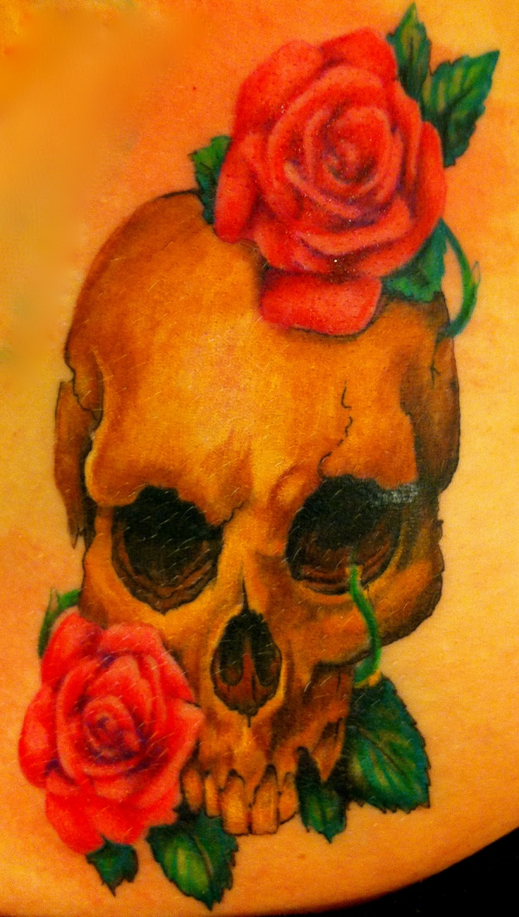 Skull rose tattoo  done by Maggie S.