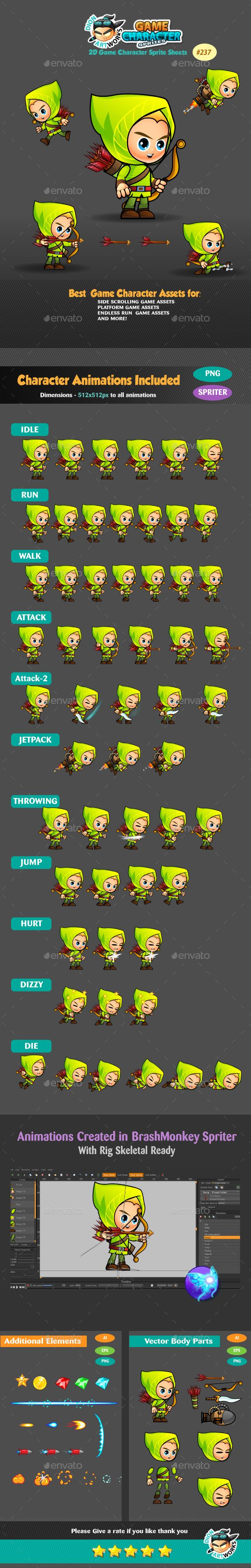 Archer 2D Game Character Sprites 237 - Sprites #Game Assets Download here:  https://graphicriver.net/item/archer-2d-game-character-sprites-237/17116684?ref=alena994