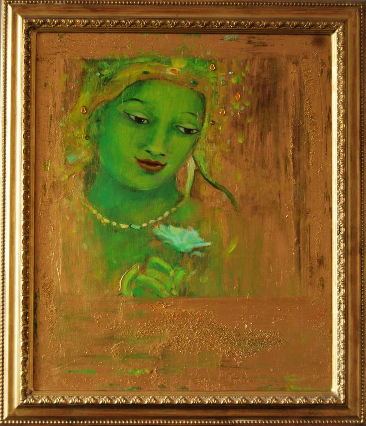 """""""Green Bodhicitta with Gold"""" .                               mixed Media by Floor Hendriks"""