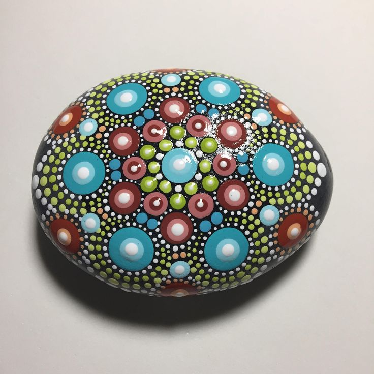 Hand Painted Mandala Stone, Mandala Meditation Stone, Dot Art Stone, Healing Stone, #504 by MafaStones on Etsy