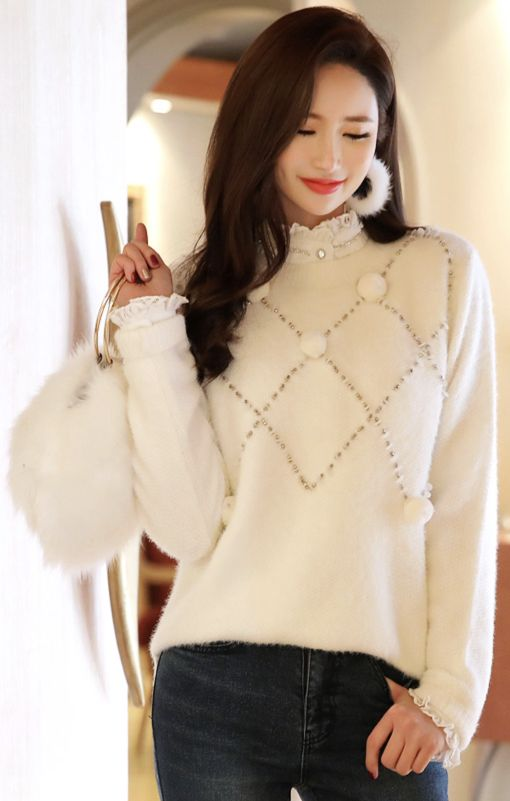 StyleOnme_Pom Pom Diamond Knit Sweater #cute #sweater #ivory #elegant #koreanfashion #kstyle #kfashion #dailylook #wintertrend #seoul