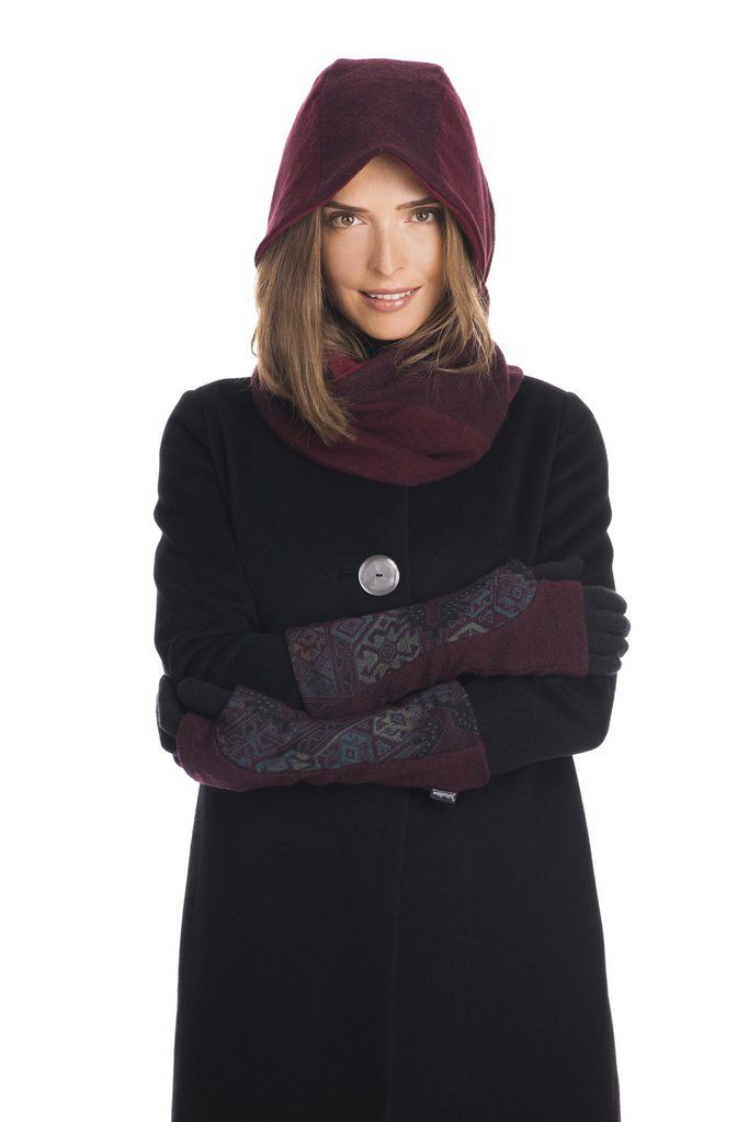 Upcycled wool hood scarf and arm warmer gloves in burgundy.  By Jennifer Fukushima, made in Canada.