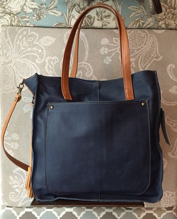 Leather tote blue tote bag soft leather purse blue by Percibal