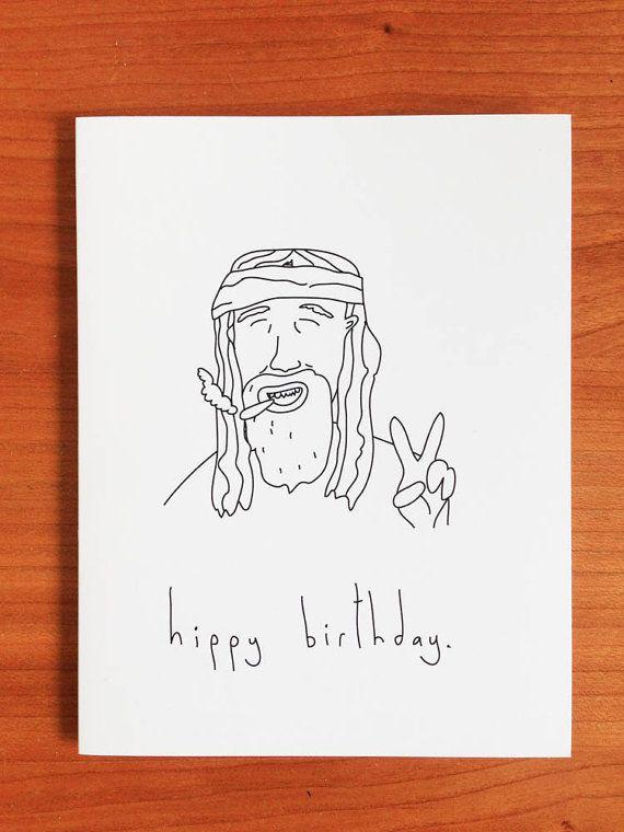 Hippy Birthday  Handmade Card by melissarachelblack on Etsy