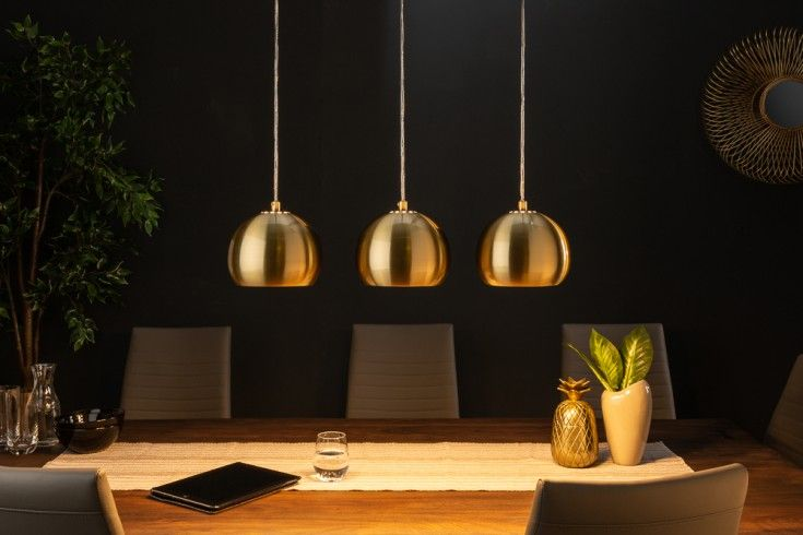 Moderne 3er Hangeleuchte Golden Ball Gold Hangelampe Hohenverstellbar Riess Ambiente De Hangeleuchte Lampe Hange Lampe