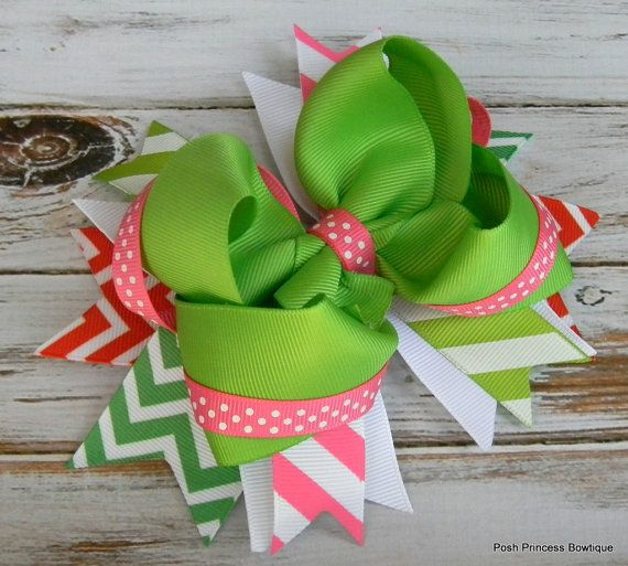 Girls hair bows Boutique hair bows Pink Green Chevron Polka dot Stacked hair bows for girls baby toddlers