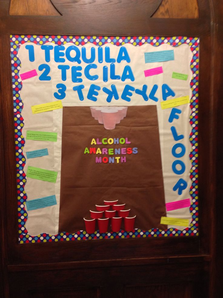 Alcohol awareness month RA bulletin board   Resident assistant bulletin board