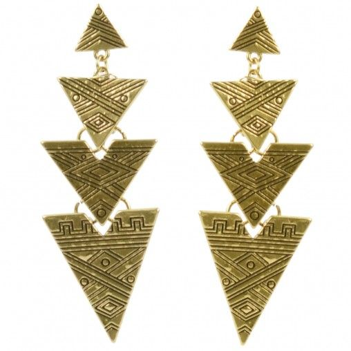 SACHA // Golden aztec earrings € 6,95 #aztec #earrings #gold #jewelry