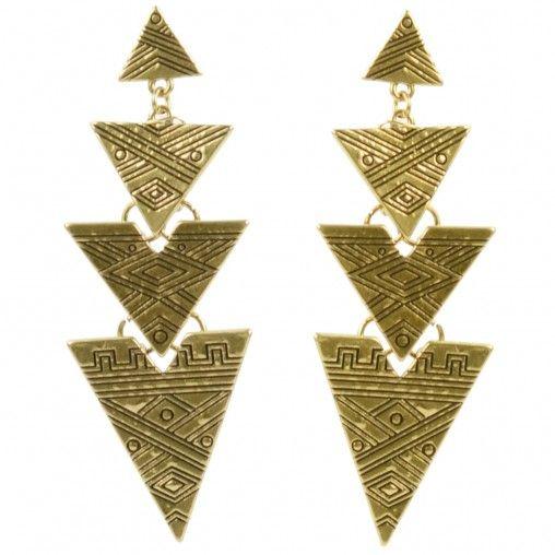 SACHA // Golden aztec earrings € 6,95 #aztec #earrings #gold #jewelry