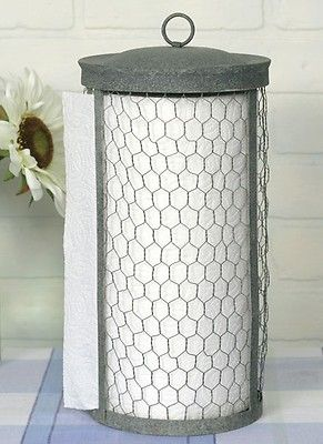 Unique Primitive Classic Chicken Wire Paper Towel Holder Rustic Hand Crafted on eBay!